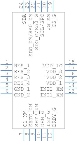 LSM9DS0 - STMicroelectronics - PCB Footprint & Symbol Download