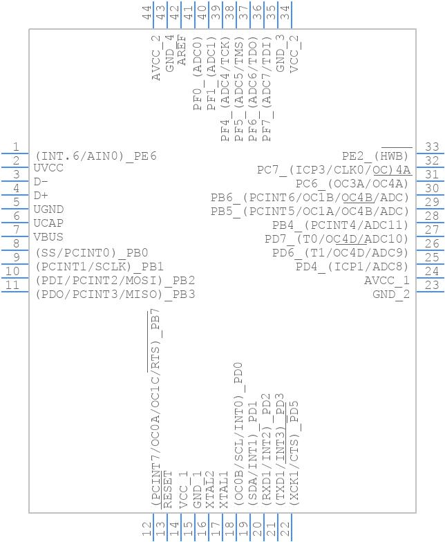 ATMEGA32U4-AU - Microchip - PCB symbol