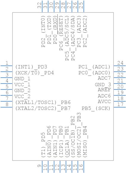 ATMEGA8A-AU - Microchip - PCB symbol