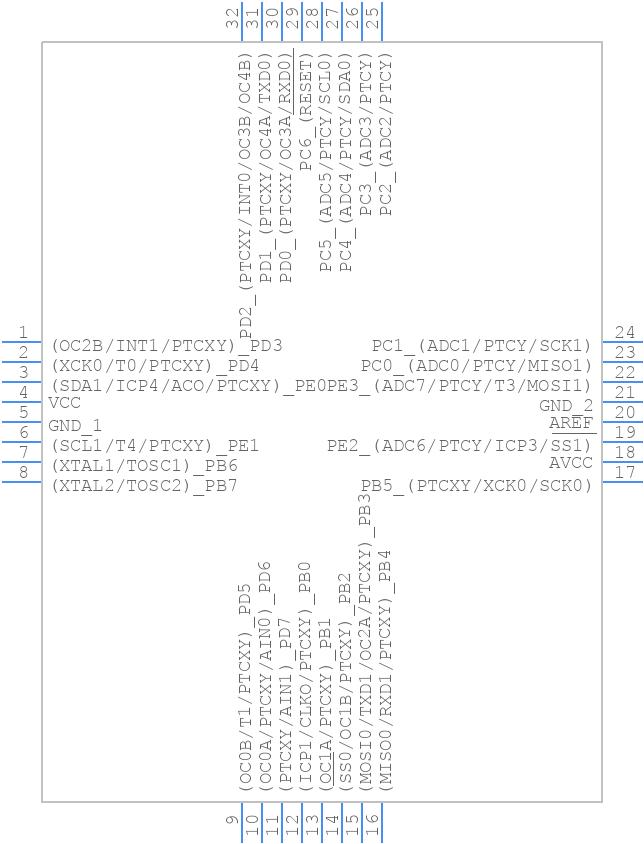 ATMEGA328PB-AU - Microchip - PCB symbol