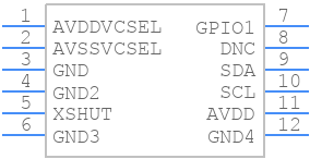 VL53L0CXV0DH/1 - STMicroelectronics - PCB symbol