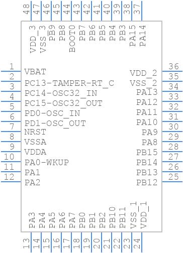 STM32F103C8T6TR - STMicroelectronics - PCB symbol