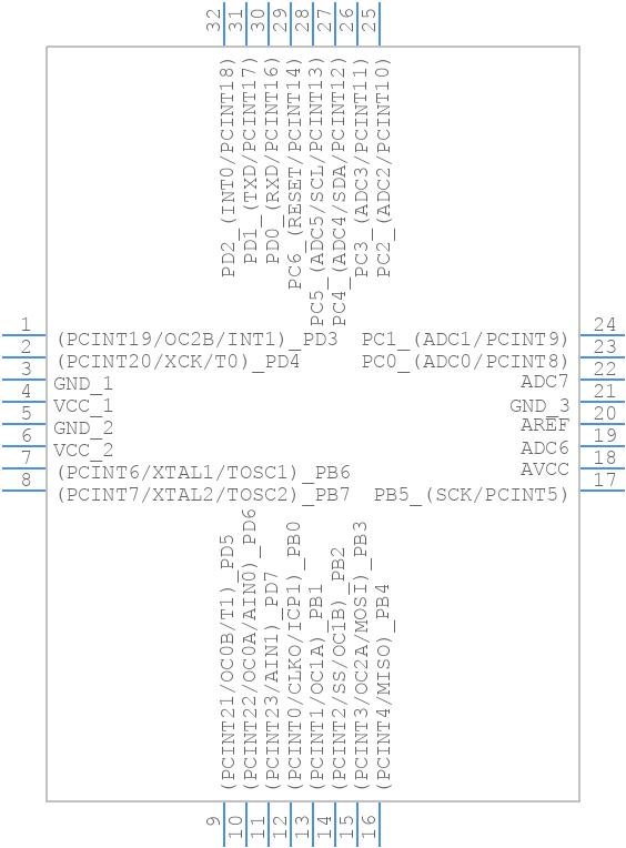 ATMEGA88P-20AU - Microchip - PCB symbol