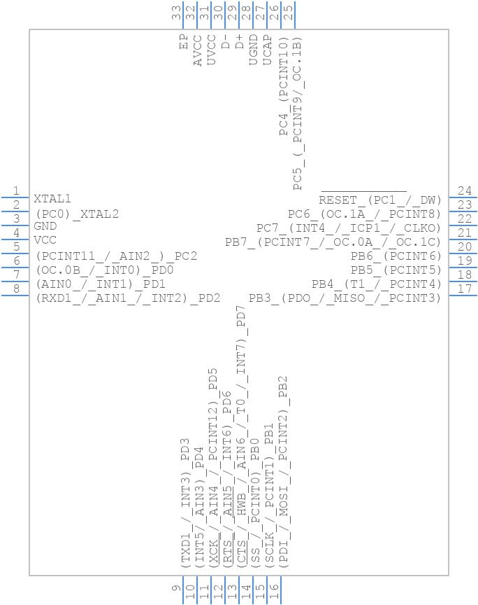 ATMEGA16U2-MU - Microchip - PCB symbol