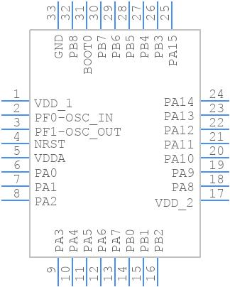 STM32F051K4U6TR - STMicroelectronics - PCB symbol