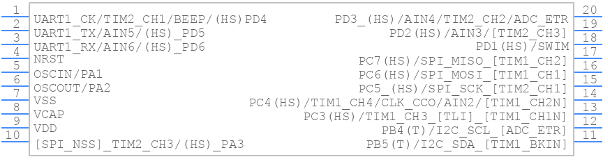 STM8S003F3P6TR - STMicroelectronics - PCB symbol