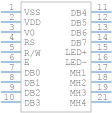 NHD-0216XZ-FSW-GBW - Newhaven Display - PCB symbol